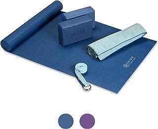 Gaiam Essentials Juego de esterillas de yoga para principiantes | Kit incluye esterilla de yoga de alta calidad (72 pulgadas de largo x 24 pulgadas de ancho x 6 mm de grosor) con soporte para esterilla de yoga, bloque de yoga, paquete de 2, correa de yoga de 6 pies, toalla de yoga caliente