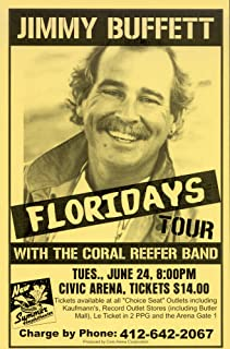 Innerwallz Jimmy Buffett Floriday's 1986 Retro Art Print — Poster Size — Print of Retro Concert Poster — Features Jimmy Buffett and the Coral Reefer Band.
