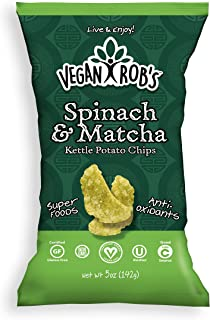 Vegan Rob's Potato Kettle Chips, Spinach & Matcha | Gluten-Free Snack, Plant Based, Vegan, Non GMO | 5 Ounce Bags (12 Count)