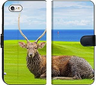 Liili Premium iPhone 8 Flip Micro Fabric Wallet Case Chital Deer Spotted Deer Axis Deer on Green Image ID 39491092