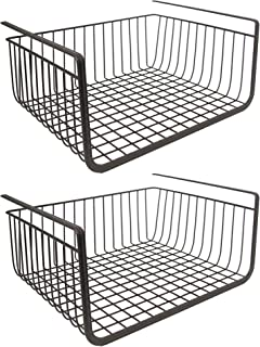 House of Quirk Metal Under Shelf Basket Wire Rack for Extra Cabinet Storage (Black, Standard) - Set of 2