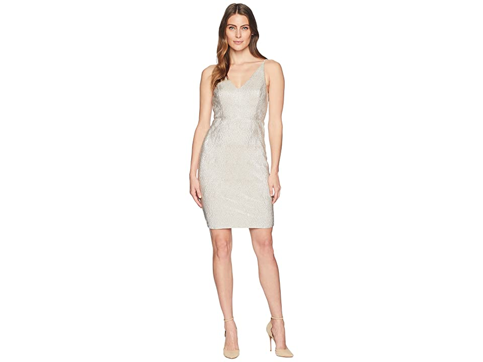 Calvin Klein Sparkle V-Neck Sheath Dress CD8B37JC (Nude) Women
