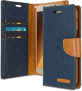 Galaxy A5 2017 Wallet Case with Free 4 Gifts [Shockproof] GOOSPERY Canvas Diary [Ver. Magnetic] Card Holder with Kickstand Flip Cover for Samsung GalaxyA52017 - Navy, A52017-CAN/GF-NVY
