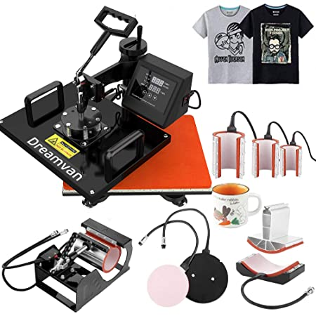 "8 in1 Heat Press Machine Digital Transfer Swing Away for Mug Hat T-shirt 12/""X15/"""