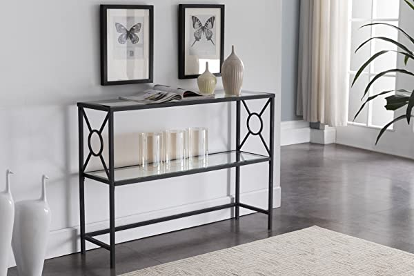 Kings Brand Loyd Texture Black Metal Entryway Console Sofa Table With Glass Shelf