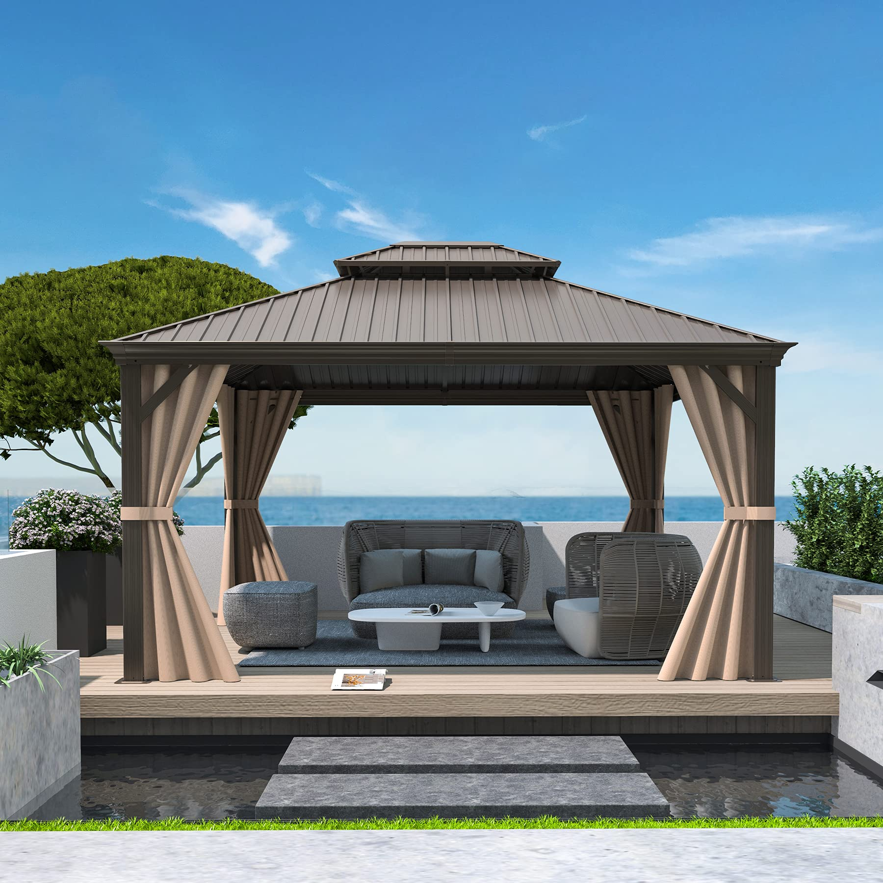 Sponsored Ad - 10'x12' Outdoor Hardtop Gazebo with Double roof,for patios,Backyard,lawns,Garden,Pool Sides,by domi outdoor...