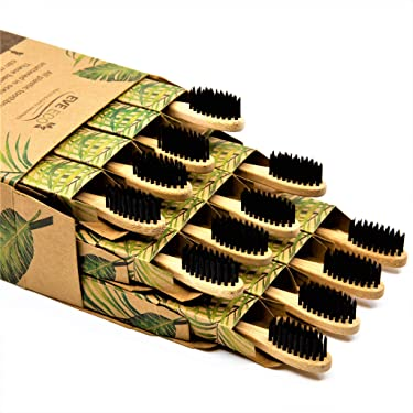 12 Pack I Bamboo Toothbrush I Soft Bristles Best For Sensitive Gums I Charcoal I Vegan I Natural Wood I BPA Fee I Recyclable I Compostable I Biodegradable | Environmentally Friendly | By EveEco