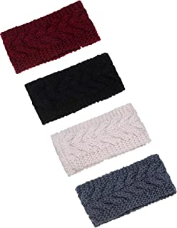 TecUnite 4 Pieces Chunky Knit Headbands Braided Winter Headbands Ear Warmers Crochet Head Wraps for Women Girls