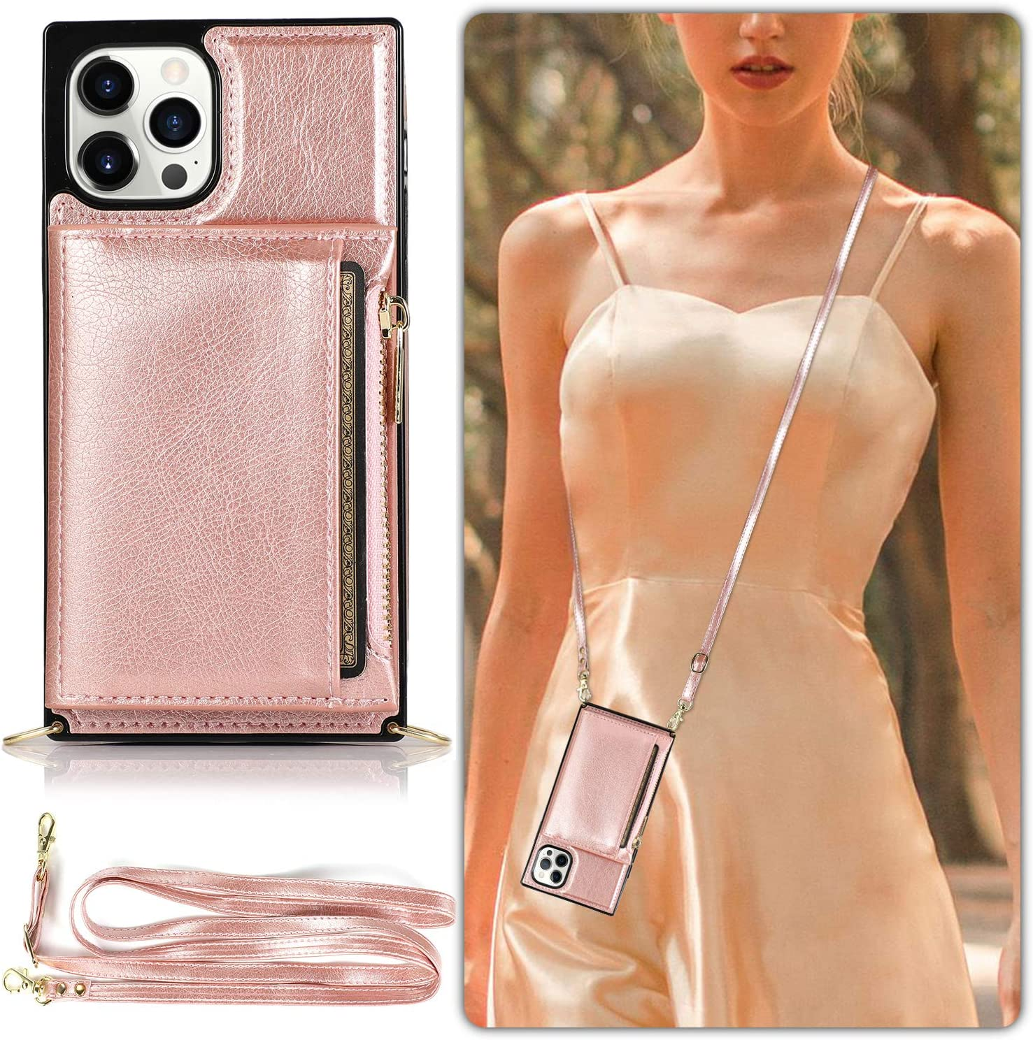LUVI Compatible with iPhone 12 Pro Wallet Case with Crossbody Neck Strap Lanyard Purse Handbag Shoulder Strap Cover with PU Leather Credit ID Card Holder Kickstand Stand Protection Case 6.1