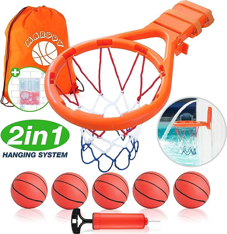 Bath Toy Basketball Hoop For Kids 5 Upgraded Balls Bathtub Basketball Hoop For Boys Girls Indoor Fun Games Improve Motor Skills 2IN1 Hanging System B0NUS Bath Toy Organizer GREAT GlFT