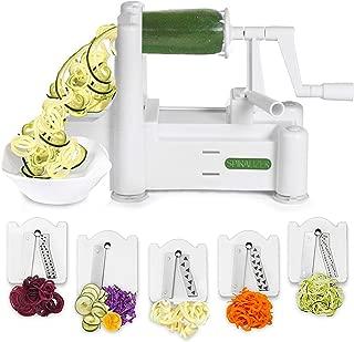 Spiralizer 5-Blade Vegetable Slicer, Strongest-and-Heaviest Spiral Slicer, Best Veggie Pasta Spaghetti Maker for Keto/Paleo/Gluten-Free, Comes with 4 Recipe Ebooks (Renewed)