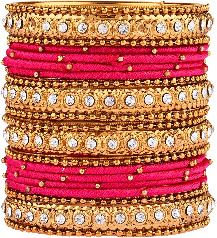 Efulgenz Fashion Jewelry Indian Bollywood Gold Plated Crystal Beaded Silk Thread Bracelet Bangle Set (20 pc)