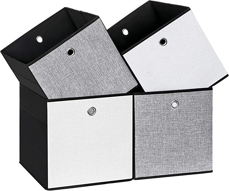 SONGMICS Set Of 4 Linenette Storage Cubes Foldable Clothing Storage Boxes Bins For Home Closet And Toys Organizer White And Black Colors On Different Sides UROB26WB