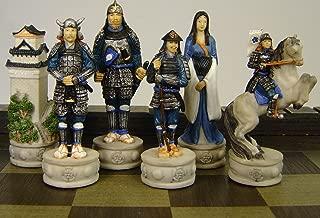 Japanese Samurai Warrior Set of Chess Men Pieces Hand Painted