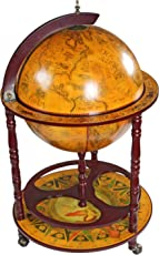 "Design Toscano Sixteenth-Century Italian Replica Globe Bar Cart Cabinet on Wheels, 38"", Sepia Finish"