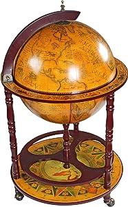 "Design Toscano Sixteenth-Century Italian Replica Globe Bar Cart Cabinet on Wheels, 38"", Sepia Finish"
