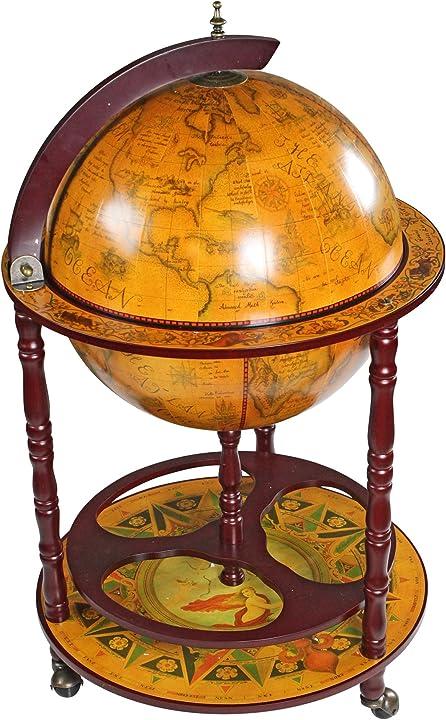 Mappamondo sedicesimo secolo mobile bar dotato di rotelle, mdf e legno, seppia, 96,5 cm design toscano SJ45001
