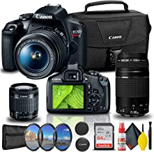$714 » Canon EOS Rebel T7 DSLR Camera with 18-55mm and 75-300mm Lenses + Creative Filter Set, EOS Camera Bag + Sandisk Ultra 64GB...