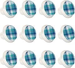"""12 Pack Ronde Keukenkast Knoppen Trekt (1-37/100"""" Diameter) - Jongen Blauw Pastel Kleur Plaid Patroon - Dressoir Lade/Deur..."""