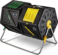 Miracle-Gro Large Dual Chamber Compost Tumbler – Easy-Turn, Fast-Working System – All-Season, Heavy-Duty, High Volume Composter with 2 Sliding Doors + Free Scotts Gardening Gloves (2 – 27.7gal/105L)
