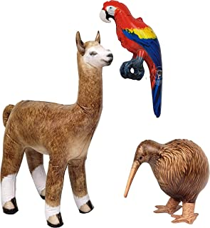 JET CREATIONS Parrot Macaw Kiwi Bird Alpaca Llama 3 pack Inflatable Air Stuffed Plush Animals, Size 18-30 inch, JC-A0109