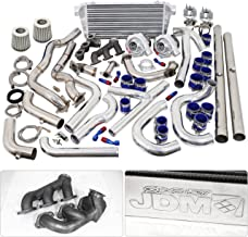 For Ford Mustang V6 3.8L Twin Turbo Charger Manifold Downpipe Intercooler Wastegate Oil Line Kit Air Filter Boost Controller Upgrade Blue Silver Set