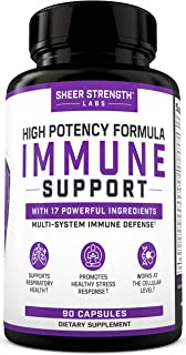 17 in 1 Daily Immune Support Supplement with Vitamin C, Elderberry, Zinc, Ginger and More (90 Capsules) - H...