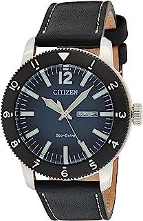 ساعة سيتيزن للرجال ايكو-درايف بقرص ازرق وسوار جلد بعقارب - AW0077-19L