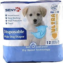 SENYEPETS Disposable Dog Diapers Male Physiological Pants Pet Disposable Wrap 12pcs
