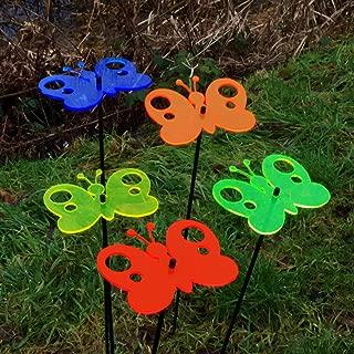 DSD Supplies ltd. SunCatcher Set of 5: Butterfly | 150mm / 5,9'' Ø Fluorescent Garden Ornament | Glowing Decoration on Stick | Innovative Home Decor Stake, Colour:All 5 Colours