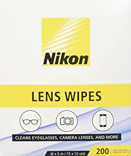 Nikon Pre-Moistened Lens Cleaning Wipes - Cleans Without Streaks for Eyeglasses and Sunglasses Wipes 200 Ct