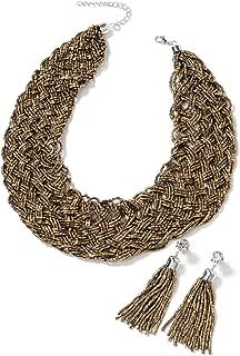 Tube Seed Bead Tassel Earrings Braided Statement Bib Necklace Jewelry Gift Set for Women 20