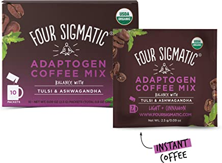FOUR SIGMATIC Adaptogen Coffee Mix with Tulsi & Ashwagandha (10 Packets), 1 x 10 Count