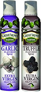 Mantova Grand' Aroma Extra Virgin Olive Oil Sprays - Garlic and Truffle Flavors - 8 Ounce each