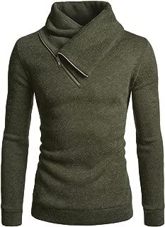 Mens Fleece Lined Sweatshirt Zip Turtleneck Slim Cut Knit Sweater