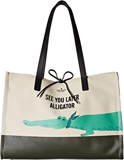 Kate Spade New York - Swamped Alligator Canvas Mega Sam