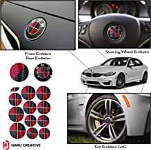 Haru Creative - Vinyl Overlay Aftermarket Decal Sticker Compatible with and Fits All BMW Emblem Caps for Hood Trunk Wheel Fender (Emblem Not Included) - 5D Gloss Carbon Fiber Black and Red