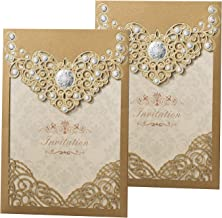 50PCS Laser Cut Bronzing Wedding Invitation Cards Hollow Favors Invitation Cardstock for Engagement Birthday Graduation Baby Shower (YC072)