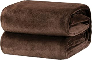 Bedsure Flannel Fleece Luxury Blanket Brown Queen Size Lightweight Cozy Plush Microfiber Solid Blanket