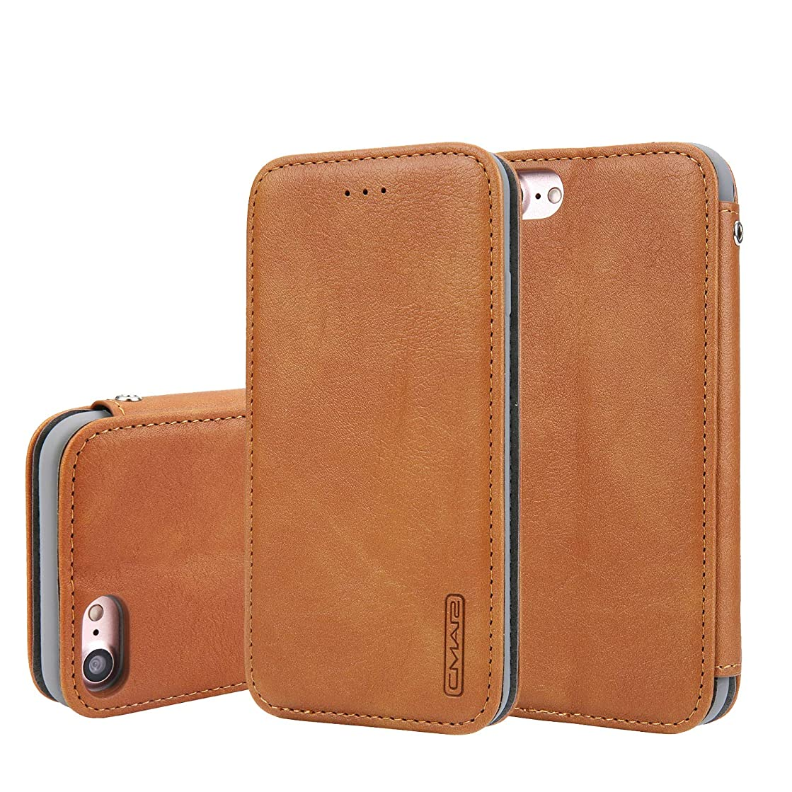 Phone Cover for iPhone 8 2019 Leather,4.7inch Holder Slim Brown Card Slot (ID Card,Credit Card) Flip Shell Accurate Cutouts Full Protection Gift Girls Boys Unisex