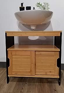 Evideco  Non Pedestal Under Sink Storage Vanity Cabinet Phuket Bamboo and Black, Brown