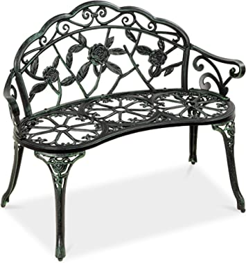 Best Choice Products Steel Garden Bench Loveseat Outdoor Furniture for Patio, Park, Lawn, Deck w/Floral Rose Accent, Antique