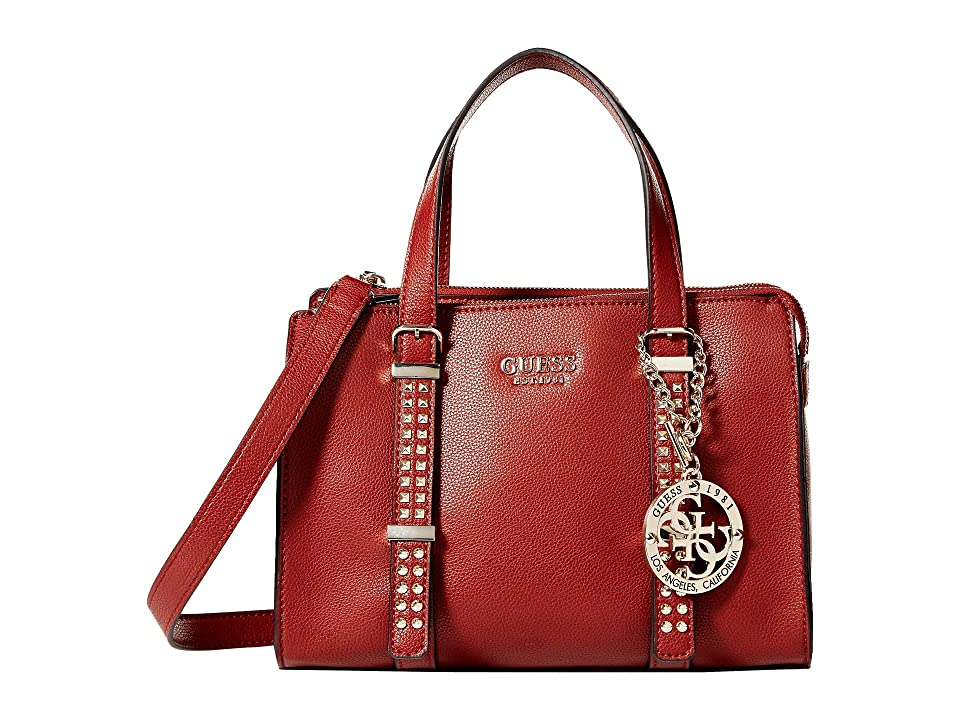 GUESS Eileen Small Status Satchel (Crimson) Handbags, Red