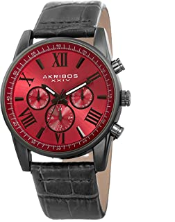 Akribos XXIV Men's Multi-Function Watch - 3 Subdials Day, Date, & GMT On Sunray Dial with Alligator Embossed Genuine Leather Strap Watch - AK911