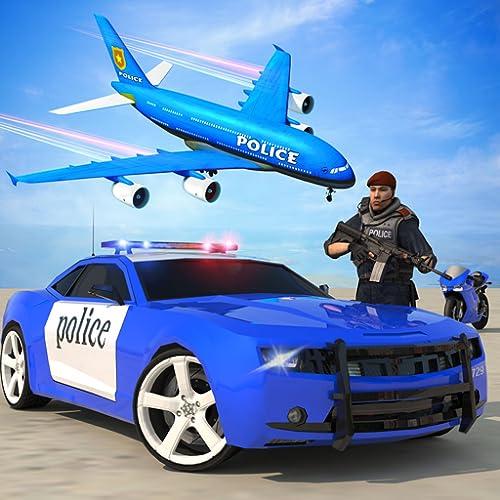 Police Car Plane Transporter: Real Crime Simulator Gangster Shooting & Truck Driving