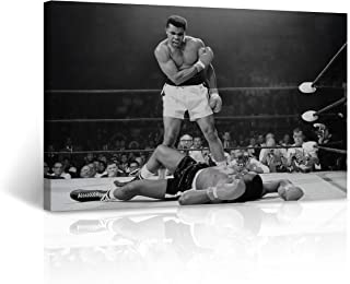 Famous Muhammad Ali vs Sonny Liston First Minute, First Round Knockout Most Iconic Picture Canvas Print Black and White Wall Art Home Decor Stretched - Ready to Hang -%100 Handmade in The USA 8x12
