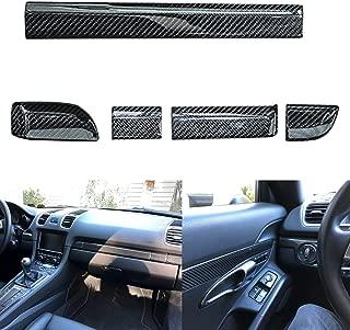 Xotic Tech for Porsche 911 Boxster 2013+ Interior Trim Cover - 5pcs Carbon Fiber Passenger Side Cup Holder Panel Decor Sticker