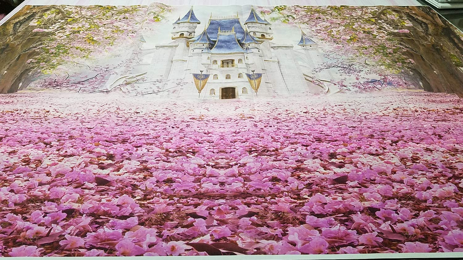 HUAYI Baby Party Banners Photo Booth Supplies W-1951 Pink Cherry Blossom Castle Background 6x5ft Baby Shower Birthday Photography Backdrop