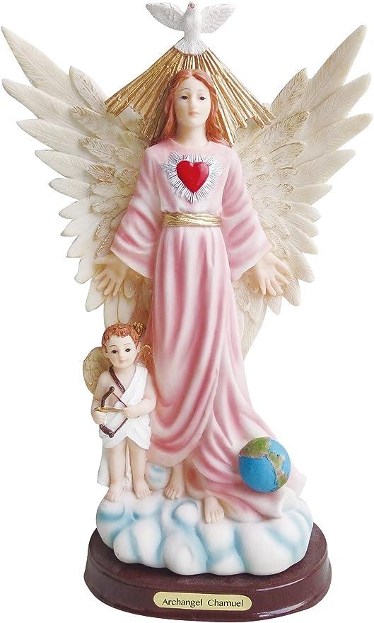Amazon Com Archangel Chamuel Estatua Chamuel Angel Statue Holy Figurine 8 Inch Light Blue Home Kitchen