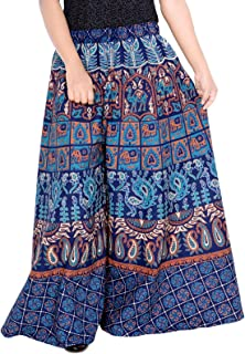 Cotton Palazzo for Women Belly Dance Hippie Palazzo for Women Indian Palazzo for Women Size 2XS Blue 36 Length Palazzo for...